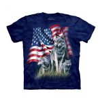 Wolf Flag Patriotic Adult T-Shirt