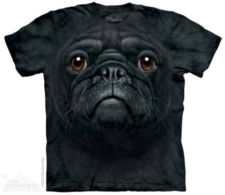 Black Pug Adult T-shirt