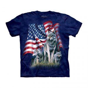 Wolf Flag Patriotic Adult T-Shirt